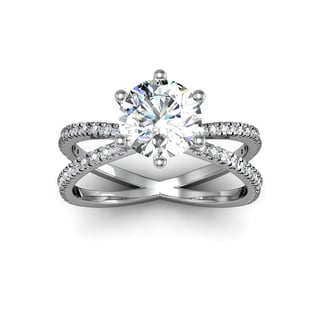 Modern X Band 1.25 Carat Solitaire Engagement Ring With 48 Side Diamonds in 14K White Gold (H-I, I1-I2)
