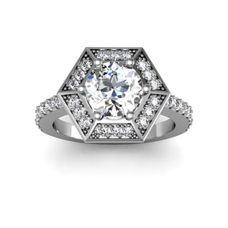 2.50ct Diamond VIntage Halo Ring 14k White Gold (H-I, I1-I2)