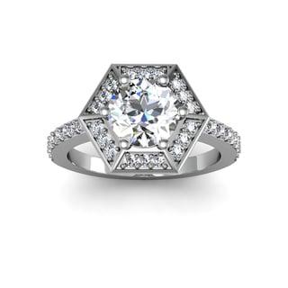 2ct Diamond Ring Round Brilliant Center Diamond In 14k White Gold (H-I, I1-I2)