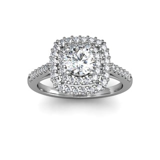 Double Halo 1 Carat Engagement Important Looking Ring In 14K White Gold (H-I, I1-I2)