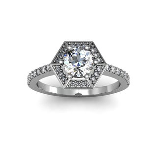 14k White Gold 1.05ct Diamond Vintage Halo Ring Round Brilliant Center (H-I, I1-I2)
