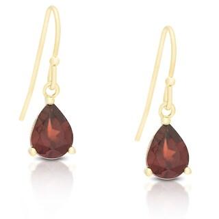 Dolce Giavonna Gold Over Sterling Silver Gemstone Teardrop Dangle Earrings