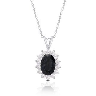 Dolce Giavonna Sterling Silver Sapphire and Cubic Zirconia Oval Necklace