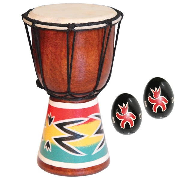 Mini Djembe Drum with Free Shakers (Indonesia)