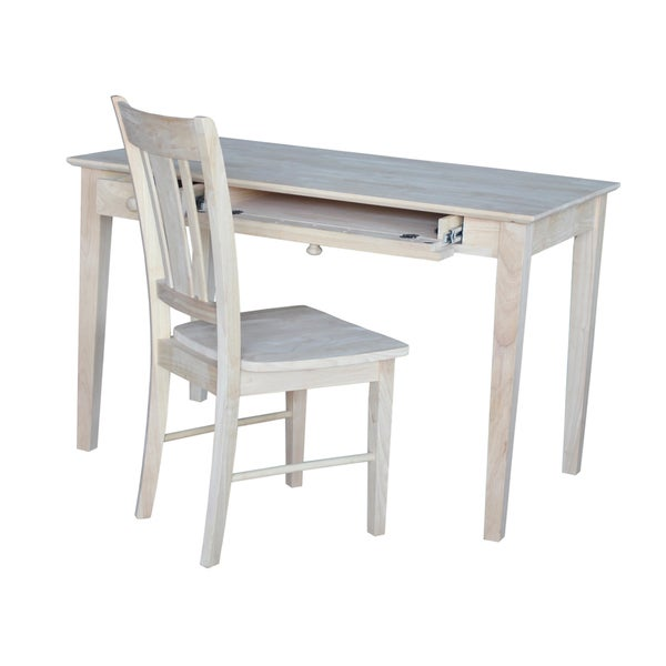 Wooden Desk with Box Seat Chair and Butcher Block Surface