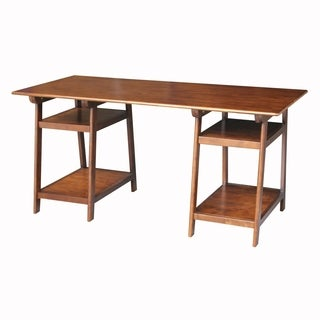 Wooden Loft Desk with Butcher Block Surface