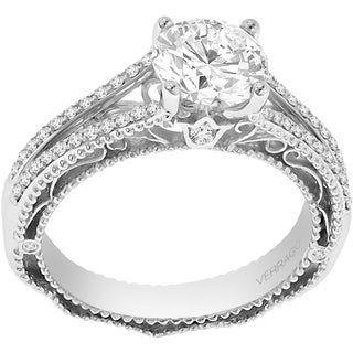 Verragio 18k White Gold Cubic Zirconia Center and 1/4ct TDW Diamonds Semi Mount Ring (VS1-VS2, F-G)