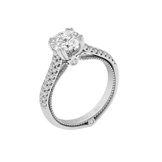 Verragio 18k White Gold with Cubic Zirconia Center and 1/3ct TDW Diamonds Semi Mount Ring (VS1-VS2, F-G)