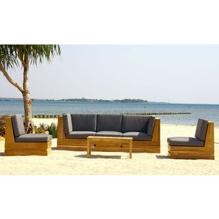 Seaside 5 Person Patio Furniture Teak Deep Seating Set