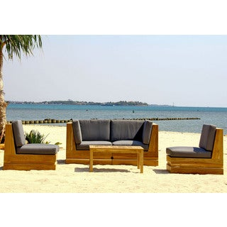 Seaside 4-person Teak Deep Seating Set