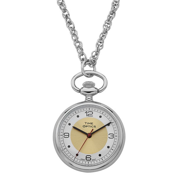 Women's Pendant Silvertone Gold Sunray Accent Watch