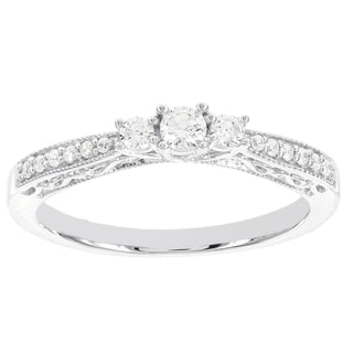 H Star 14k White Gold 1/4ct TDW Three Stone Diamond Engagement Ring (I-J, I2-I3)