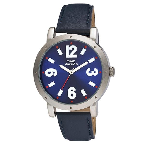 Unisex Silvertone Oversized Case Leather Strap Watch