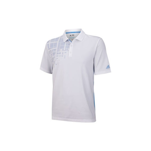 Adidas Men's Climacool Expanded Stripe Print White/ Blue Polo