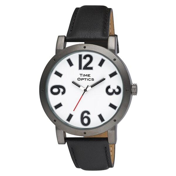 Unisex Oversized Gunmetal Case Leather Strap Watch