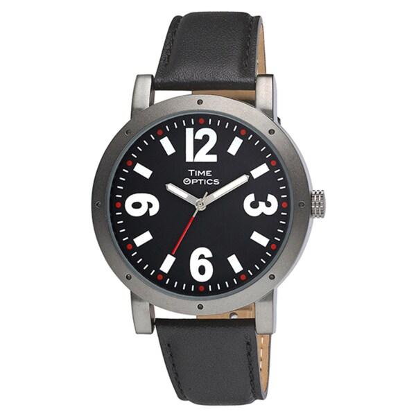 Unisex Oversized Stainless Steel Leather Strap Gunmetal Watch