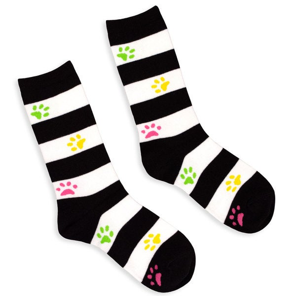 TeeHee Women's Rugby Stripe with Paws Cotton Multi-colored Crew Socks