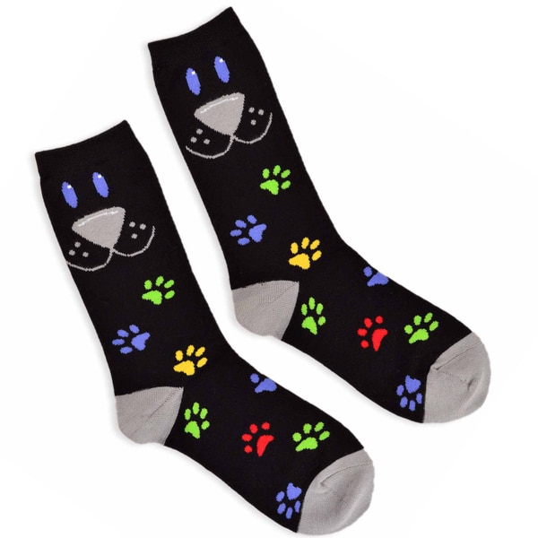 TeeHee Men's Dog Face Cotton Black 3-pair Pack Crew Socks