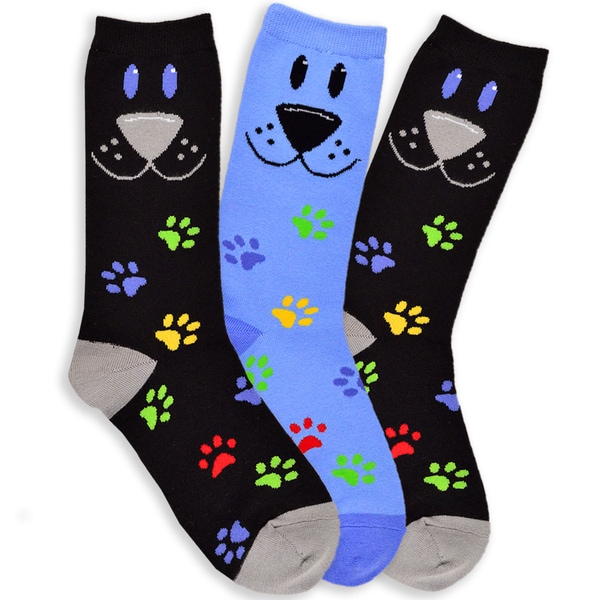 TeeHee Women's Dog Face Cotton Multi-colored 3-pair Pack Crew Socks