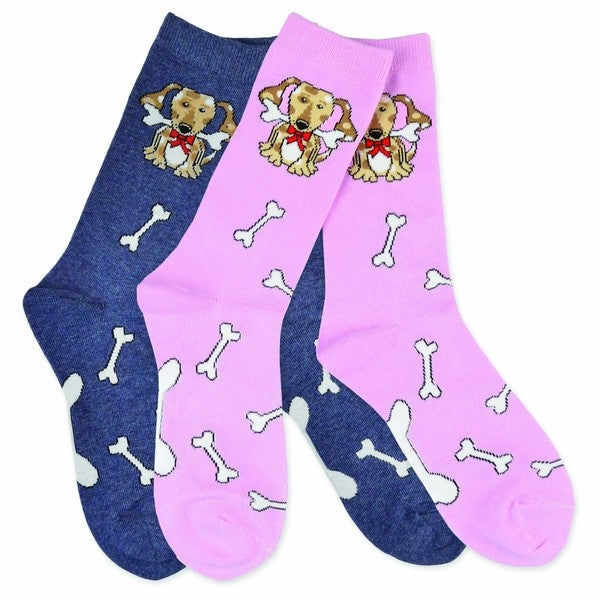 TeeHee Women's Spotted Dog Cotton Multi-colored 3-pair Pack Crew Socks