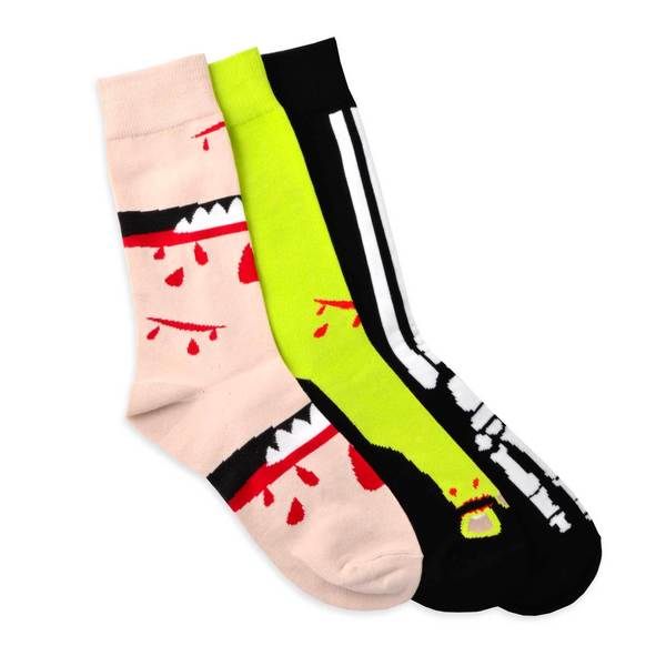 TeeHee Men's Fun Bone and Blood/ Monster Foot Cotton Multi-colored 3-pair Pack Crew Socks