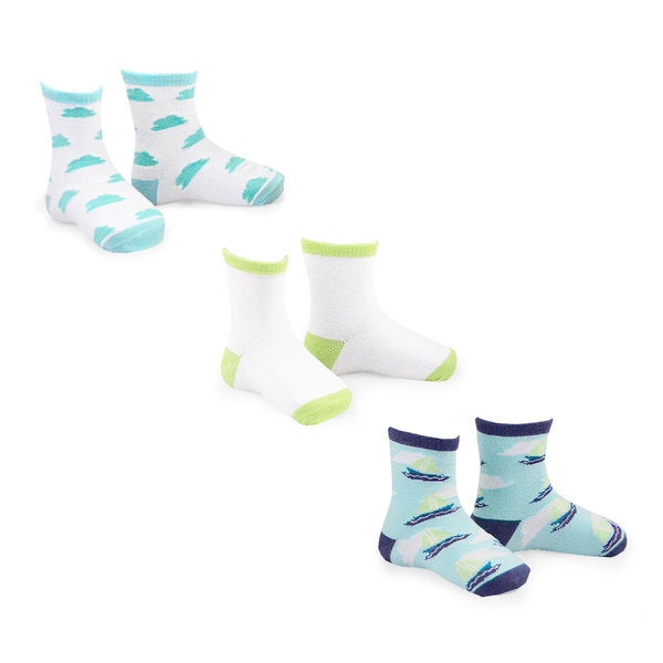 Naartjie Boy's Fashion Socks 2015 Multi-colored 3-pair Pack Crew Socks