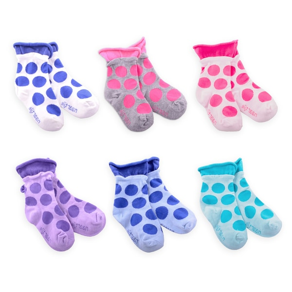 Naartjie Girl's Large Dot Roll Top Fashion Cotton Short Multi-colored 3-pair Pack Crew Socks