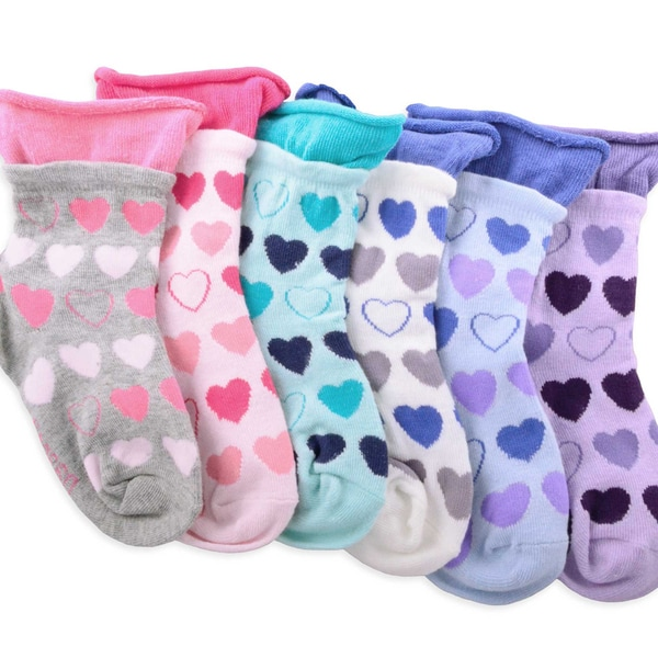 Naartjie Girl's Hearts Roll Top Fashion Cotton Short Multi-colored 6-pair Pack Crew Socks