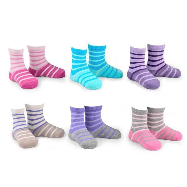 Naartjie Kid's Cotton Double Ruffle Multi-colored Crew Socks 6 Pairs Pack