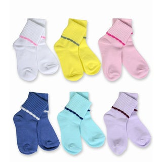 Naartjie Kid's Scalloped Cuff Multi-colored 6-pack Socks
