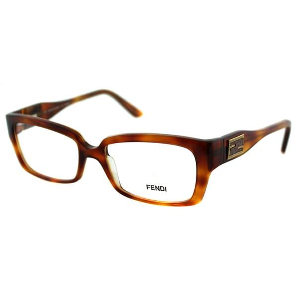 Fendi Women's FE 851 215 Light Brown Havana Plastic Rectangle Eyeglasses