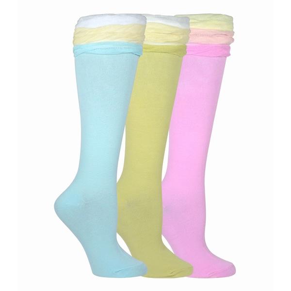 TeeHee Women's Soft Ruffle Top Knee High Multi-colored 3-pair Socks