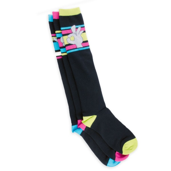 TeeHee Junior and Women's Finger Expression Fun Socks Cotton Multi-colored 3-pair Pack Knee High Socks