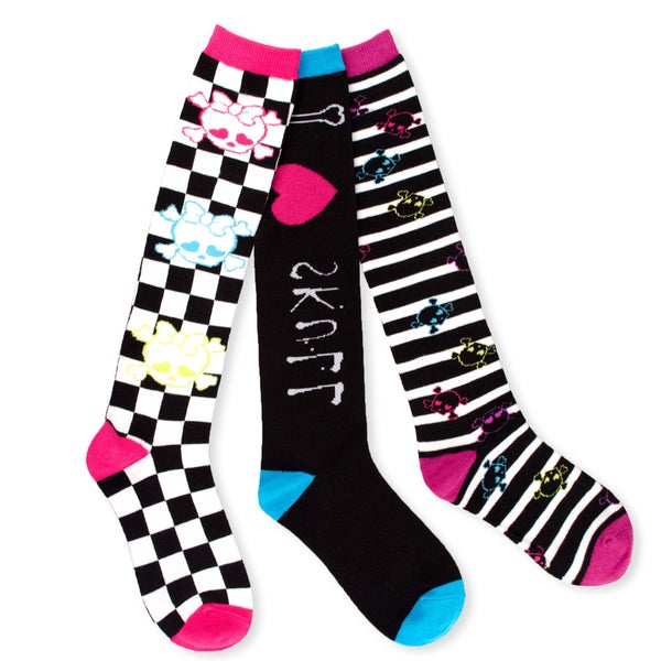 TeeHee Junior and Women's Skull Socks Fun Multi-colored 3-pair Pack Knee High Socks