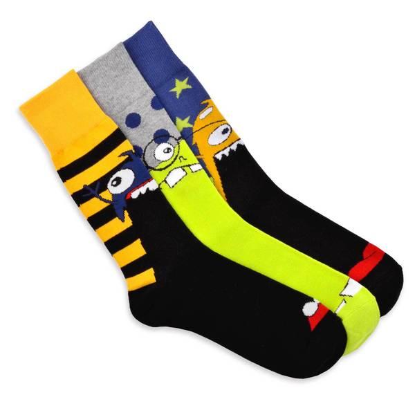 TeeHee Men's Monster Socks Fun Socks Multi-colored 3-pair Pack Cotton Crew Socks