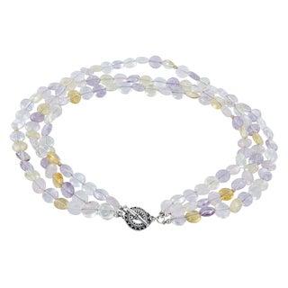 Ashanti Pastel Gemstone Amethysts, Citrines, Rose Quartz 14 Karat GF Handcrafted Multi Strand Necklace with Pewter Toggle Clasp