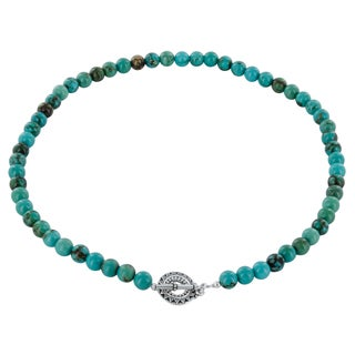 Ashanti Turquoise Gemstone Sterling Silver Handcrafted 18 inch Necklace Strand