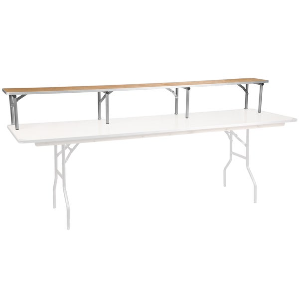 "96"" x 12"" x 12"" Birchwood Bar Top Riser with Silver Legs"