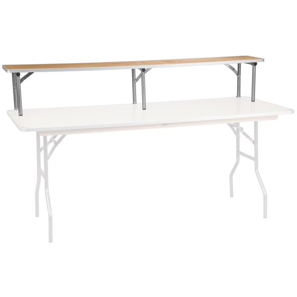 "72"" x 12"" x 12"" Birchwood Bar Top Riser with Silver Legs"