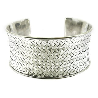 Handcrafted Sterling Silver Bali High Polish Woven Cuff Bracelet (Indonesia)