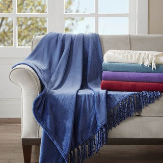 Madison Park Glimmersoft Plush Throw with Chenille Fringe