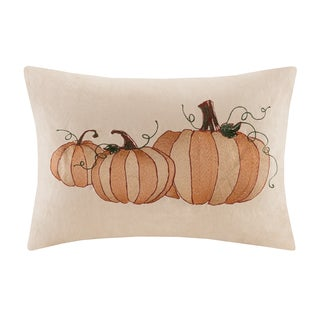 Madison Park Pumpkin Embroidered Suede Oblong Pillow