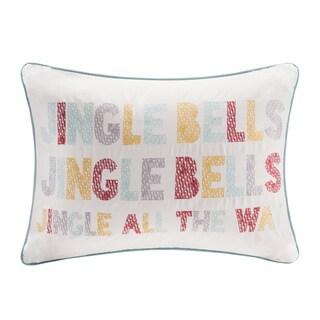 Madison Park Jingle Bells Cotton Velvet Oblong Throw Pillow