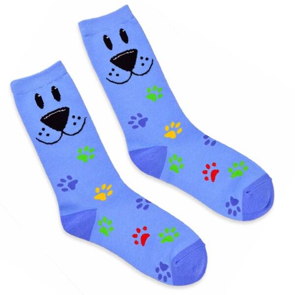 TeeHee Women's Dog Face Cotton Blue Crew Socks