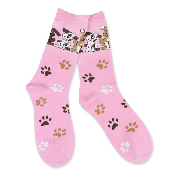 TeeHee Women's Dog Lover Cotton Pink Crew Socks