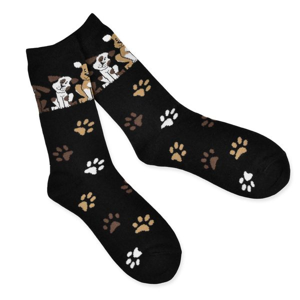 TeeHee Women's Dog Lover Cotton Black Crew Socks