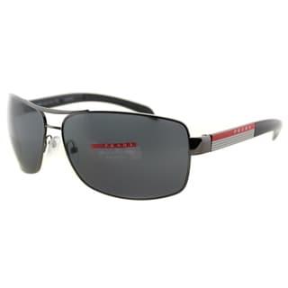 Prada Linea Rossa Men's PS 54IS 5AV5Z1 Gunmetal Metal Rectangle Sunglasses