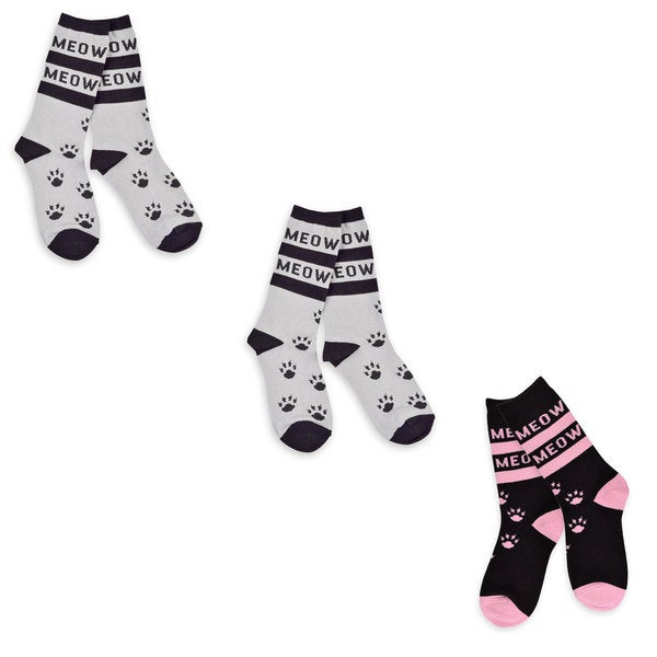TeeHee Women's Cat Meow Cotton Multi-colored 3-pair Pack Crew Socks