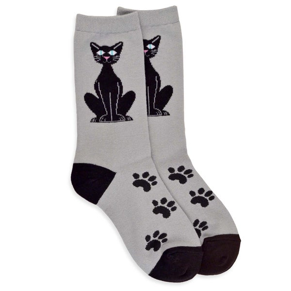 TeeHee Women's Black Cat Sitting Cotton Multi-colored Crew Socks