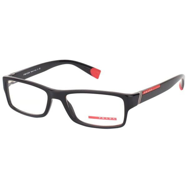Prada Linea Rossa Men's PS 03CV 1AB1O1 Black Plastic Rectangle Eyeglasses